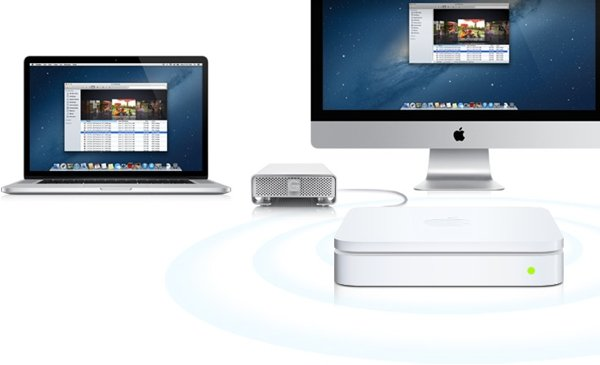 Apple's AirPort Extreme and Time Capsule devices feature a USB port for the use of a hard drive. The Time Capsule also includes an internal 2TB or 3TB drive.