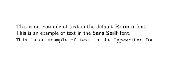 The three default fonts within TeX (and LyX)