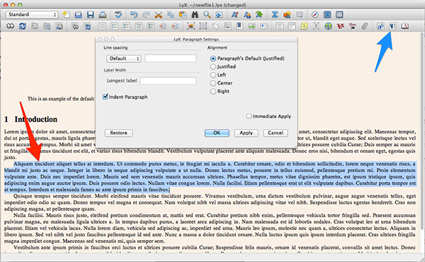 Changing the paragraph settings