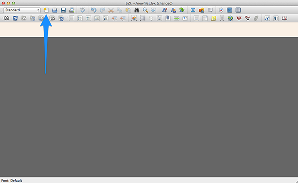 Creating a new document in LyX.