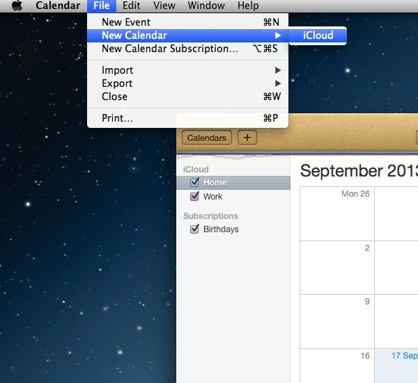 Adding a calendar to iCloud is easy and can be done within Calendar in Mac OS X.