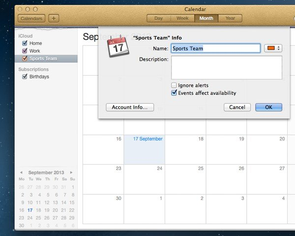 You can rename the calendar or add a description, as well as change the colour that represents it.