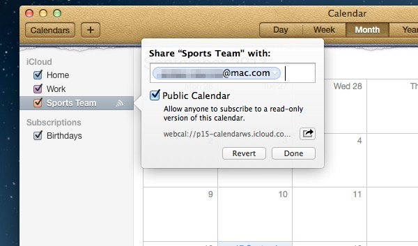 Sharing to other users is a built-in function of iCloud and Calendars. You can share to either iCloud or non-iCloud users.
