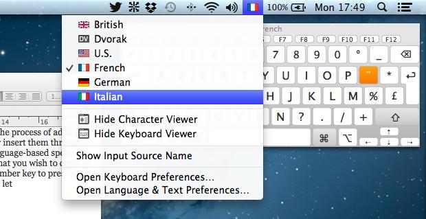 Keyboard Viewer Input Sources
