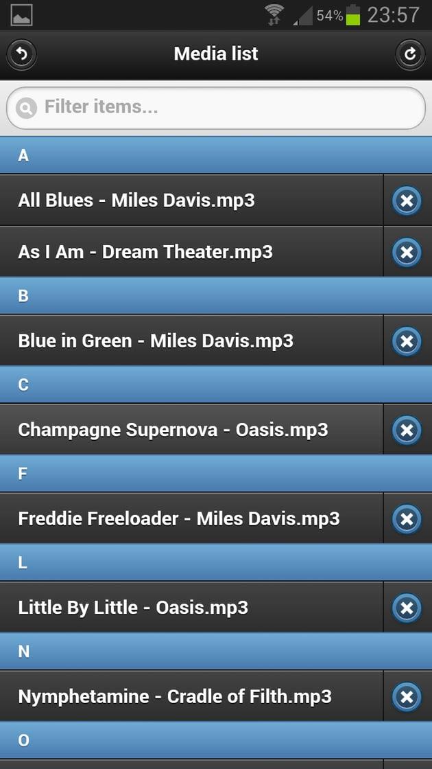 Audio files list