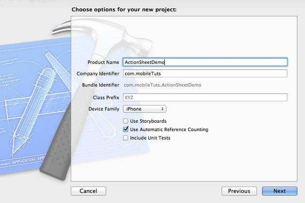 UIActionSheet: Screenshot of saving project