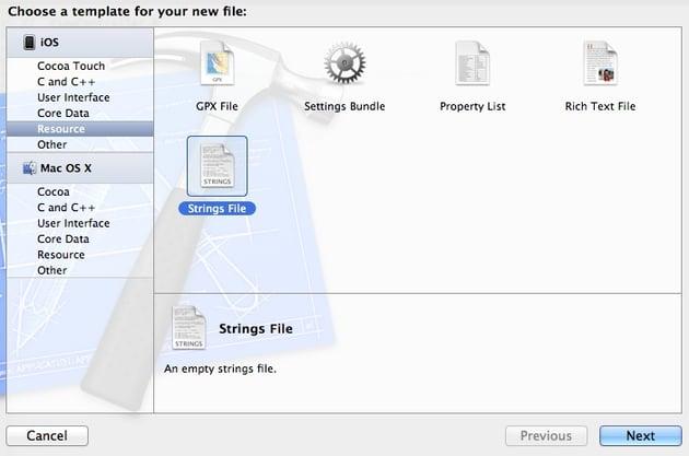 Localization: screenshot of adding a strings file