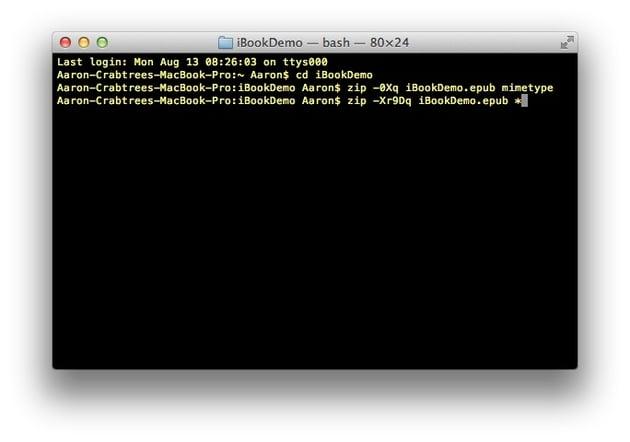 Screenshot: Terminal command line two
