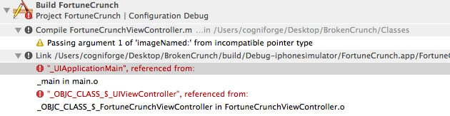 Xcode Debugging - Figure 2 - Linking vs. Build Phase