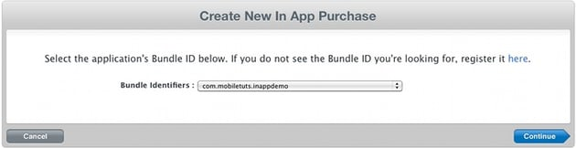 Creating new In App Purchase.