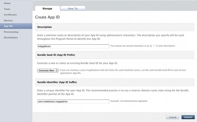 In App Purchase Creating a new app id.