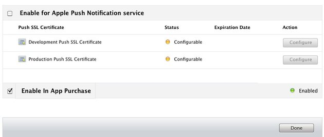 In App Purchase Creating a new app id. Enabled.