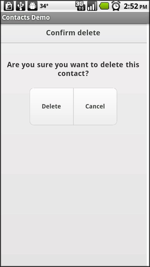 Confirm Delete Screen