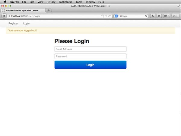 laravel-auth-logged-out