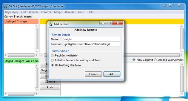 Git Gui Remote Add Origin