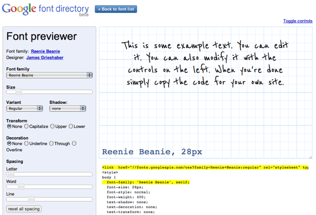 The Google font previewer allows you to play with the fonts API and get copy+paste CSS code