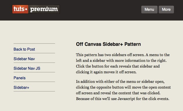 The menu and content panels visible on medium screens