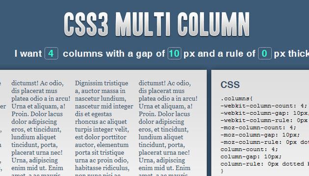 CSS3 Multi Column Layout Generator