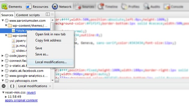 Chrome's dev tools local modification