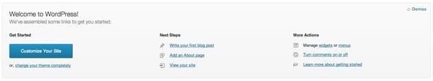 WordPress 3.5 Welcome Screen