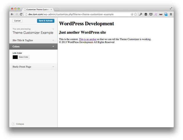 The WordPress Theme Customizer - Link Color