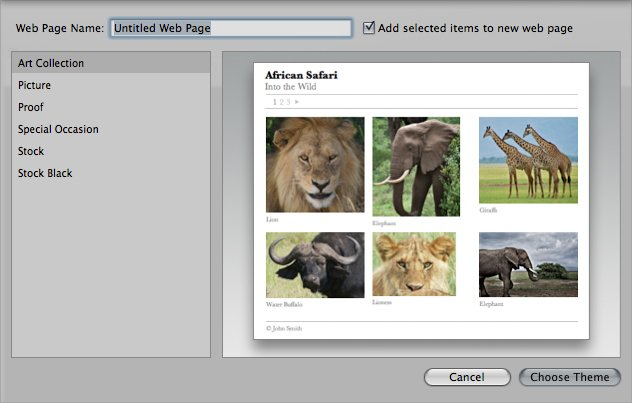 The Web Page creation menu in Aperture.