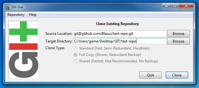 Git Gui Clone Repository