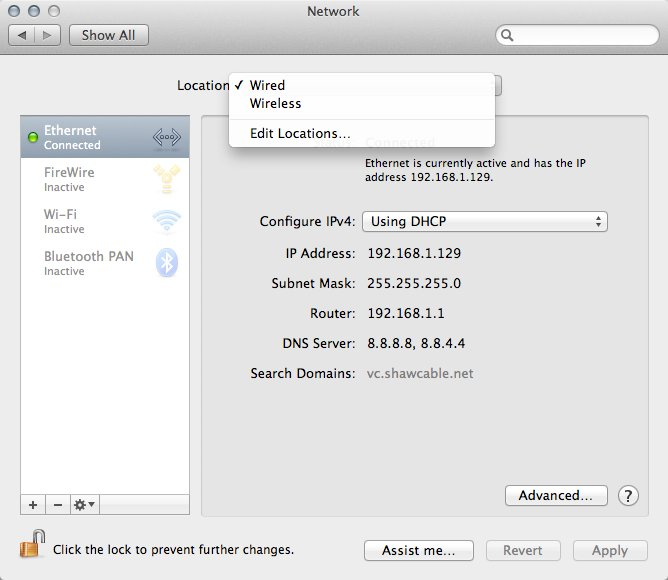 The Network Locations dropdown menu within Network Preferences.