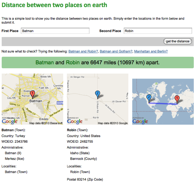 Showing the distance between two places on earth