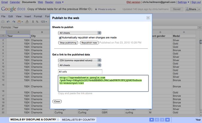Sharing a spreadsheet in Google docs