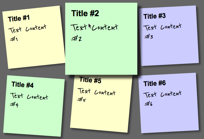 Step 5:Coloured and smoothly zooming sticky notes