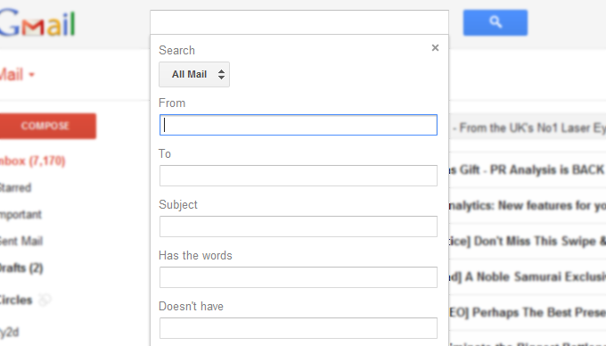 gmails new extended search bar