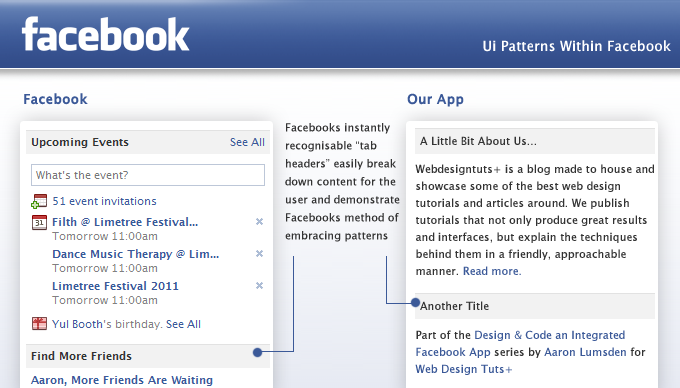 facebook app Design principles think consistent