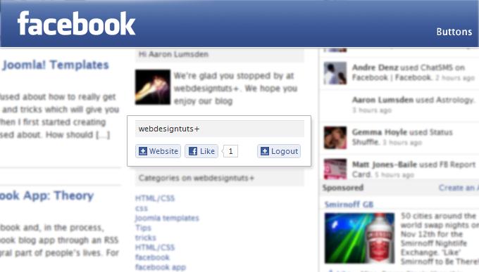 webdesigntuts Facebook app buttons