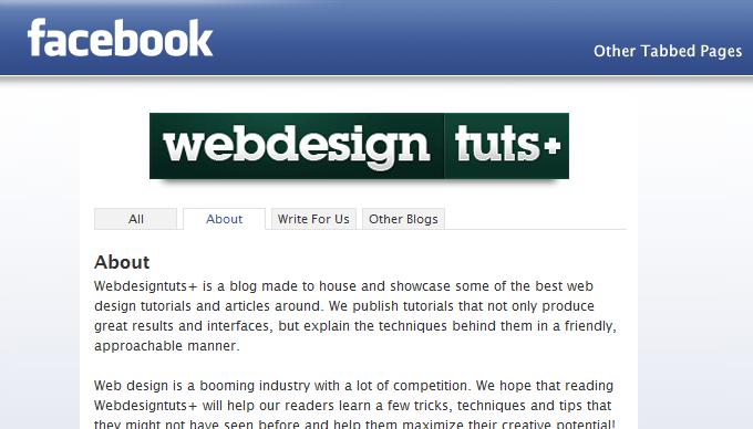 webdesigntuts Facebook app tabbed pages