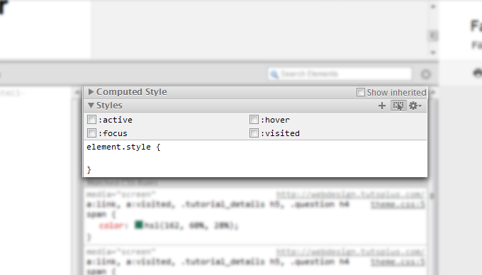 Chrome's dev tools inspect state