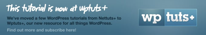 Tutorial now on Wptuts+