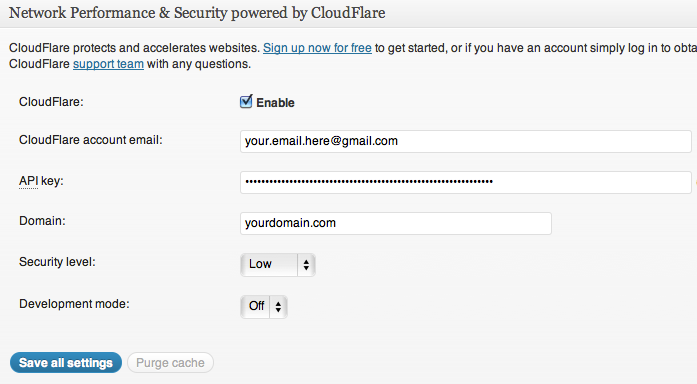 w3 Total Cache CloudFlare settings