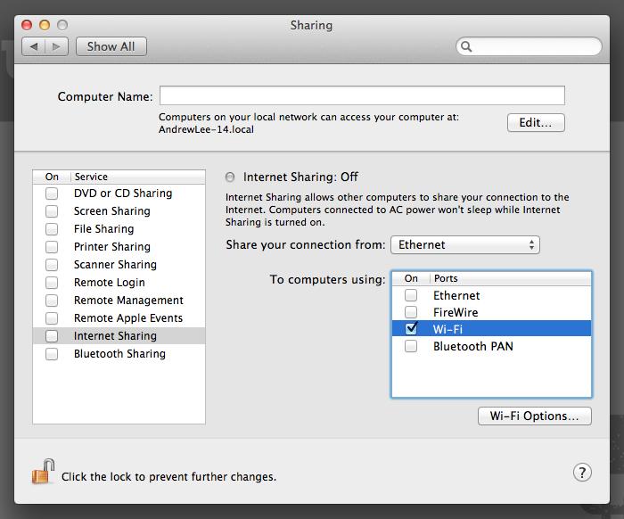 System Preferences Internet Sharing