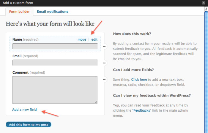 Jetpack Contact Form