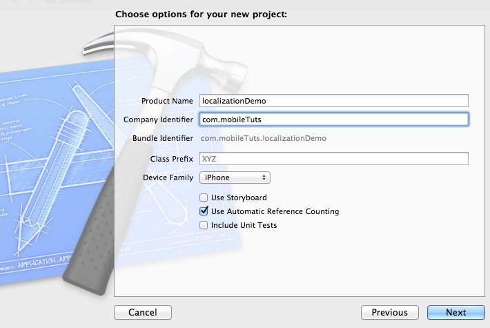 Localization: second screen of new project window