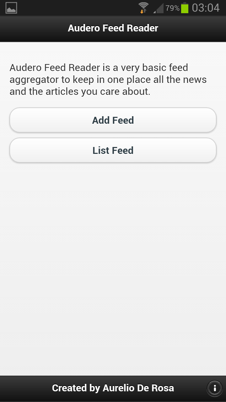 Home screen of Audero Feed Reader