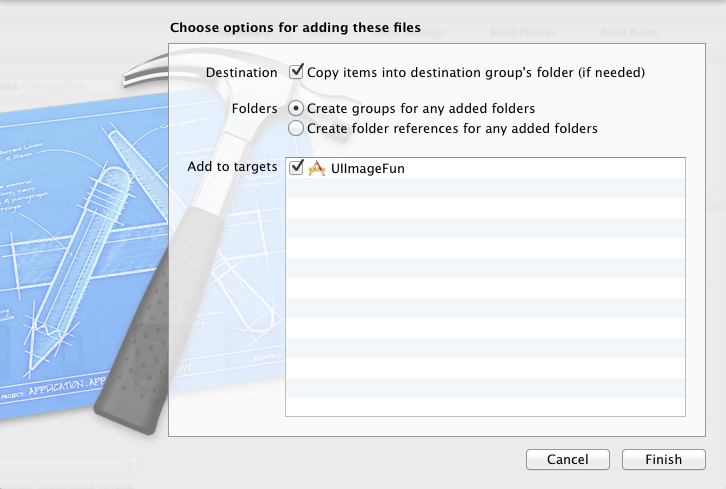 Ensure that the files get copied to your project folder