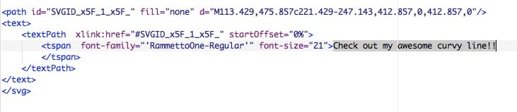 screenshot: highlighting curved text code