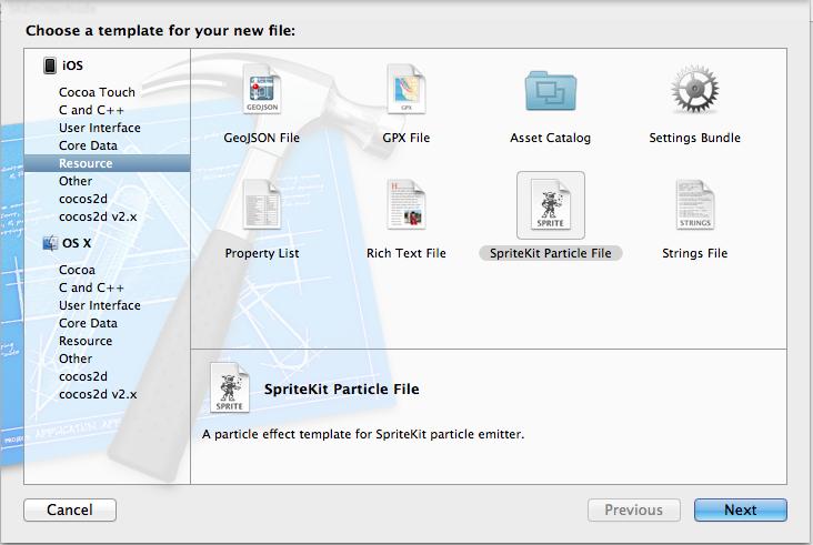 Figure 1 Creating SpriteKit Emitter File
