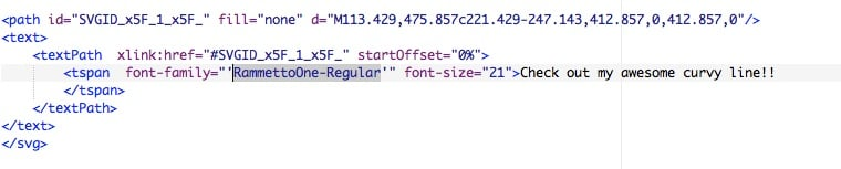 screenshot: highlighting font-family code