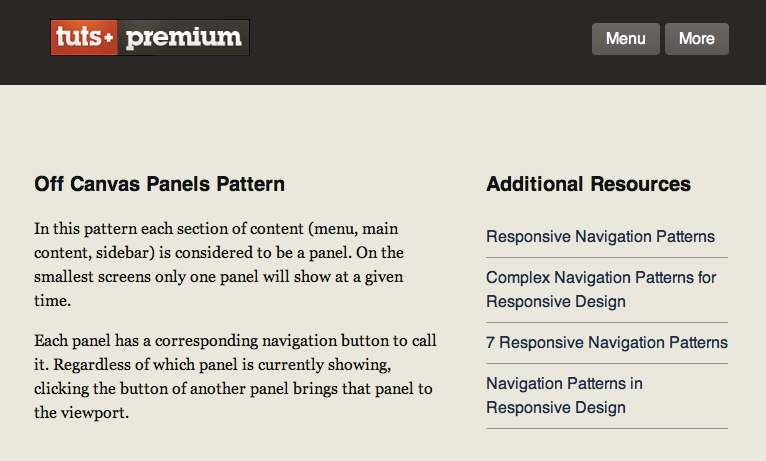 The content and sidebar panels visible by on medium screens