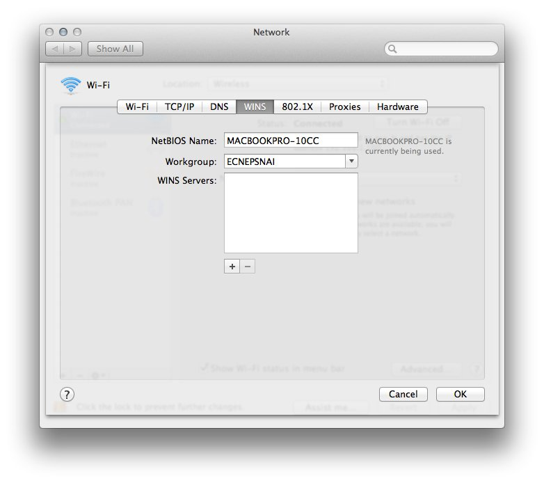 The WINS settings in OS X.