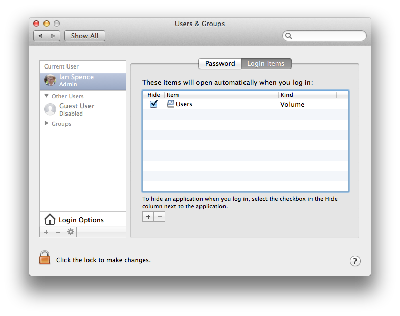 The Login Items settings in System Preferences.