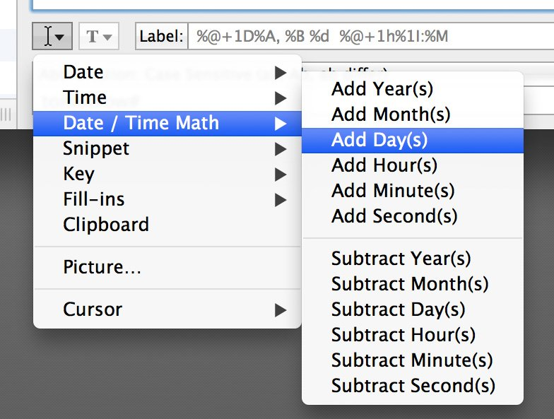Use this menu to make date and time math easy